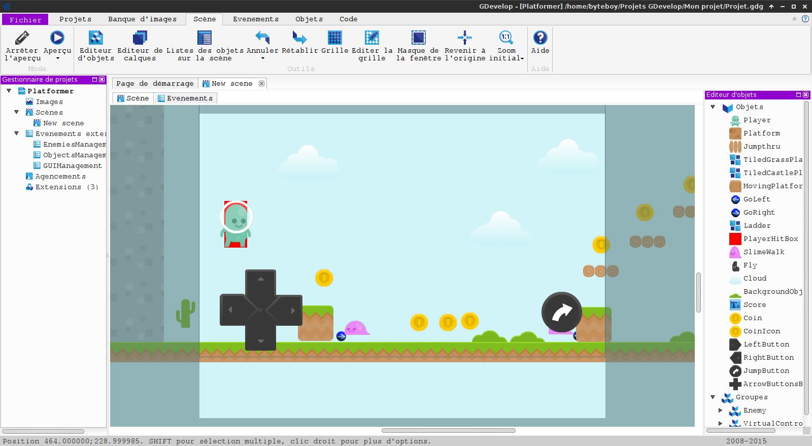 GDevelop: IDE pour créer un jeu multiplateform sans coder